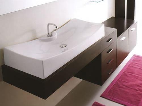 Wall-mounted wenge vanity unit with drawers MARIPOSA 24 by LASA IDEA