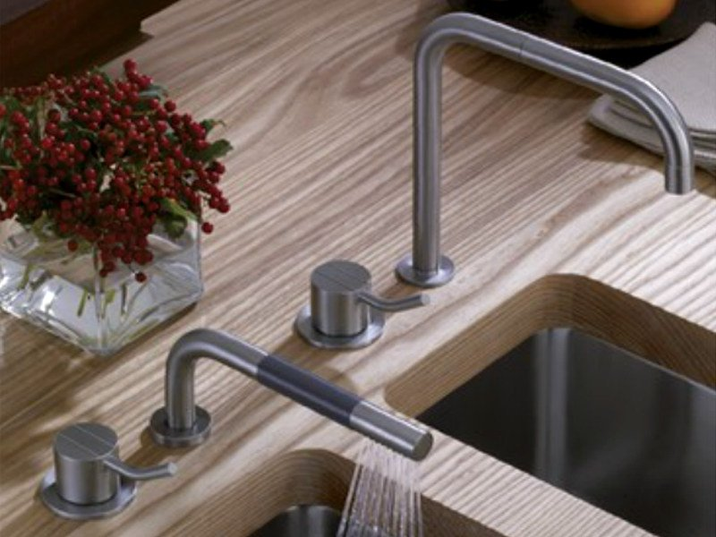 Countertop bridge tap with spray 500MT1-590M | Kitchen tap by VOLA