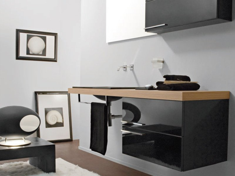 Lacquered wall-mounted vanity unit with drawers MARIPOSA 27 by LASA IDEA