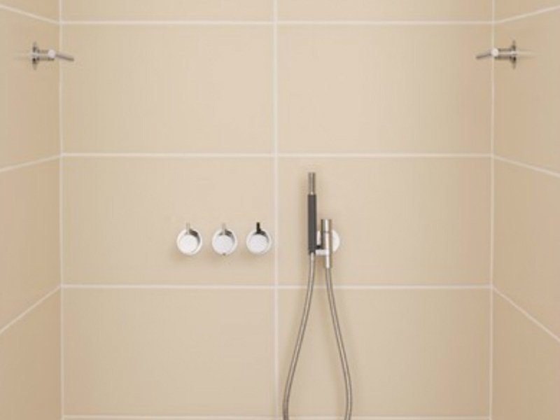 Shower mixer with hand shower with overhead shower COMBI 10 | Shower mixer by VOLA