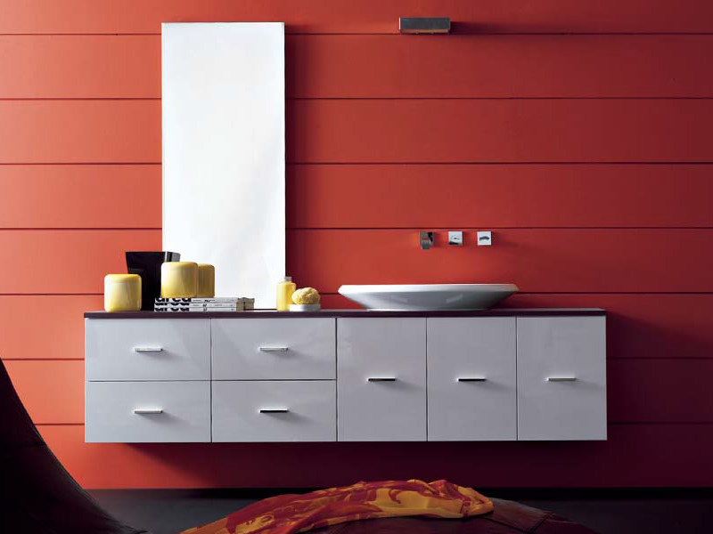 Lacquered wall-mounted vanity unit COMPOS 161 by LASA IDEA