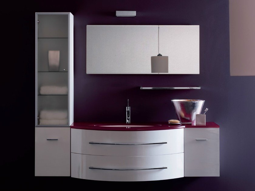 Lacquered wall-mounted vanity unit COMPOS 164 by LASA IDEA