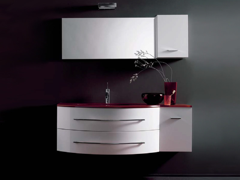 Lacquered single wall-mounted vanity unit COMPOS 165 by LASA IDEA