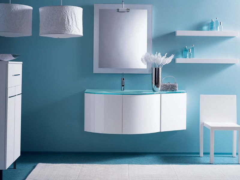 Lacquered wall-mounted vanity unit COMPOS 166 by LASA IDEA