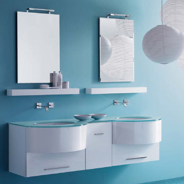 Double lacquered wall-mounted vanity unit COMPOS 167 by LASA IDEA