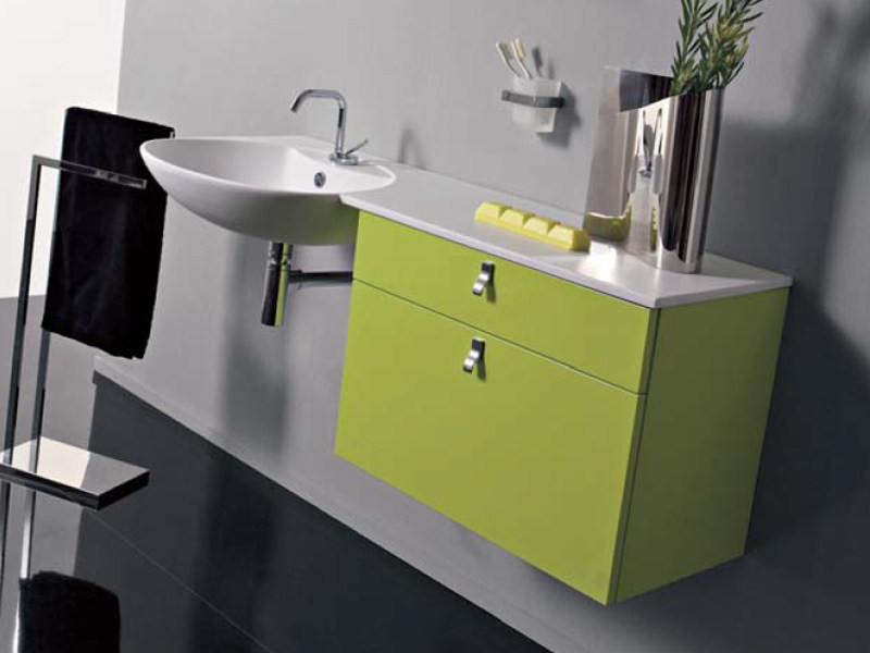 Lacquered wall-mounted vanity unit with drawers COMPOS 185 by LASA IDEA