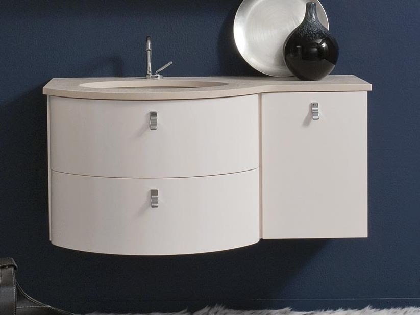 Lacquered wall-mounted vanity unit COMPOS 192 by LASA IDEA