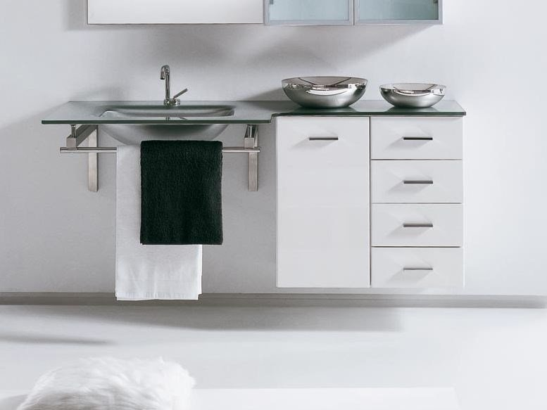 Lacquered wall-mounted vanity unit with drawers COMPOS 310 by LASA IDEA