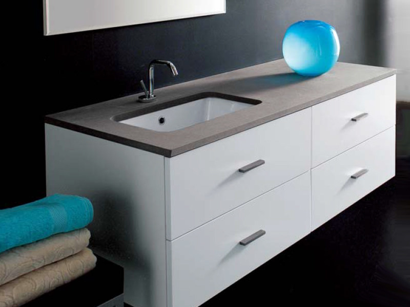 Lacquered wall-mounted vanity unit COMPOS 70 by LASA IDEA