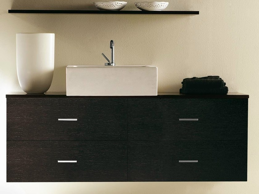 Wall-mounted wenge vanity unit with drawers COMPOS 80 by LASA IDEA