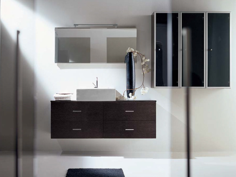 Single wall-mounted vanity unit with drawers COMPOS 100 by LASA IDEA