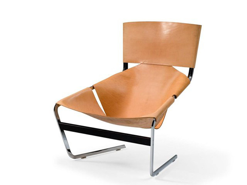Tanned leather armchair F 444 by Artifort