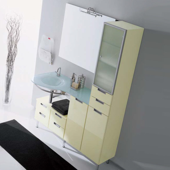 Wall-mounted vanity unit with cabinets COMPOS 15 by LASA IDEA