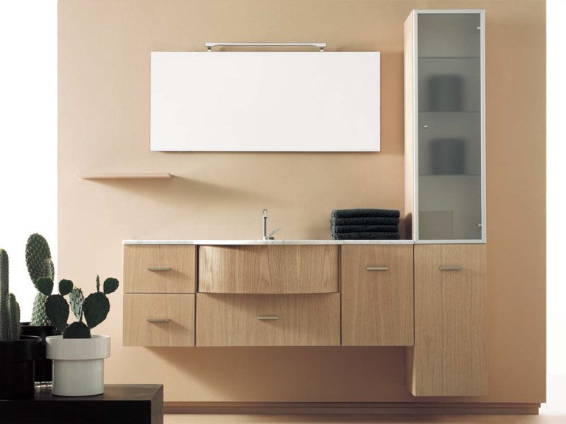 Wall-mounted vanity unit with cabinets COMPOS 30 by LASA IDEA