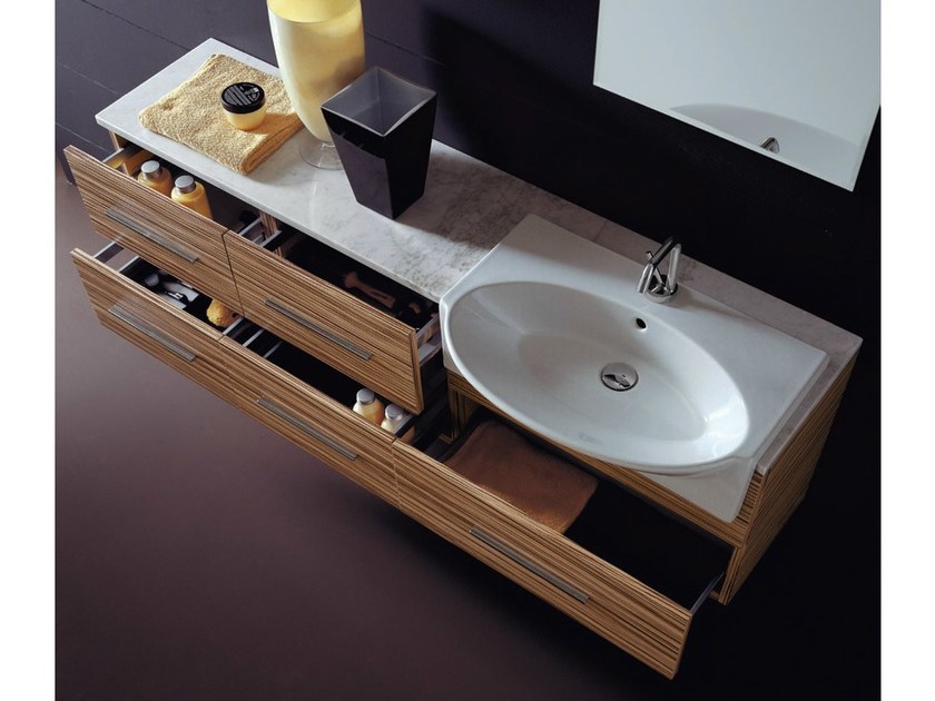 Wall-mounted vanity unit with drawers COMPOS 163 by LASA IDEA