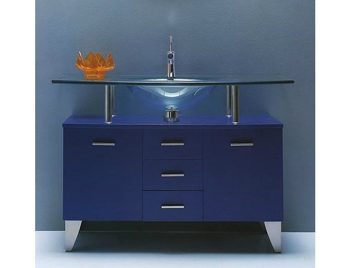 Floor-standing lacquered vanity unit SHARK 300 by LASA IDEA