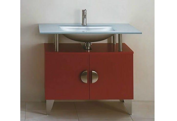 Floor-standing vanity unit with doors SHARK 100 by LASA IDEA