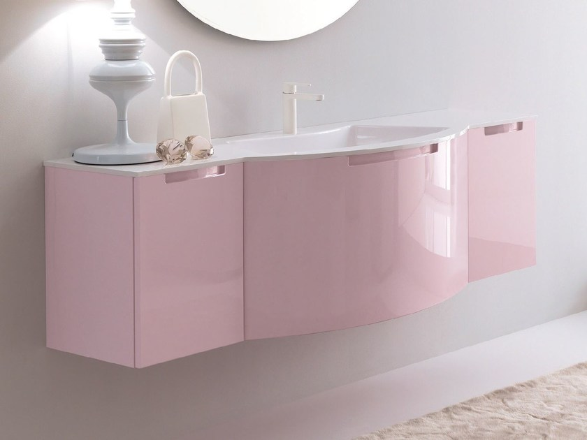 Lacquered wall-mounted vanity unit TWING 022 by LASA IDEA