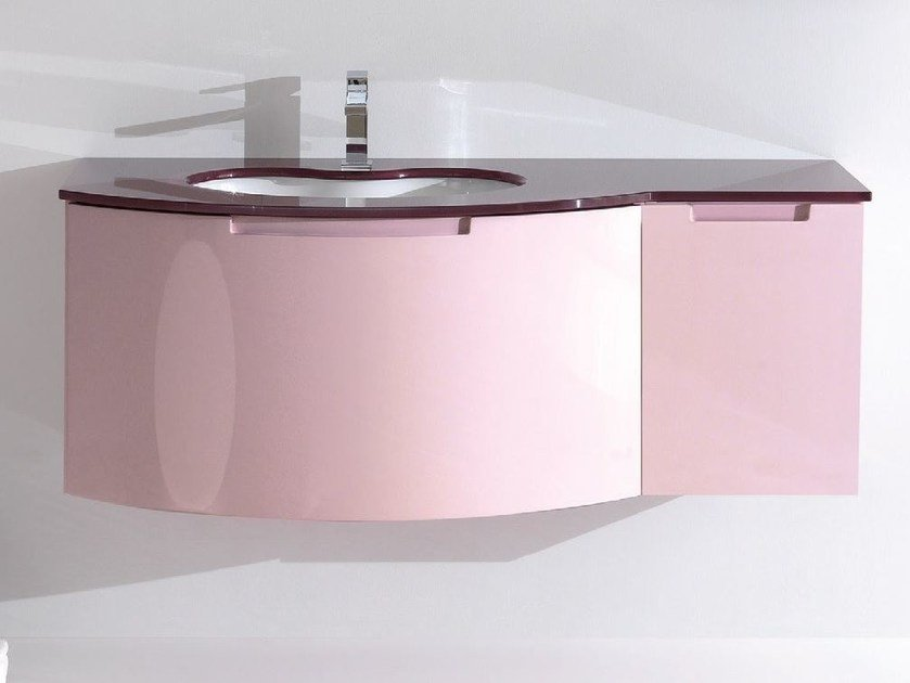 Lacquered wall-mounted vanity unit TWING 023 by LASA IDEA