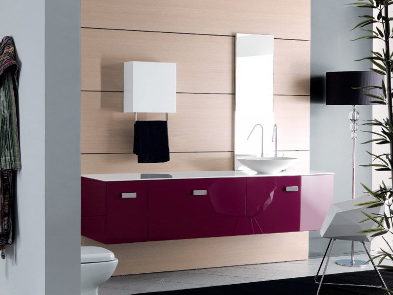 Lacquered wall-mounted vanity unit TWING 024 by LASA IDEA