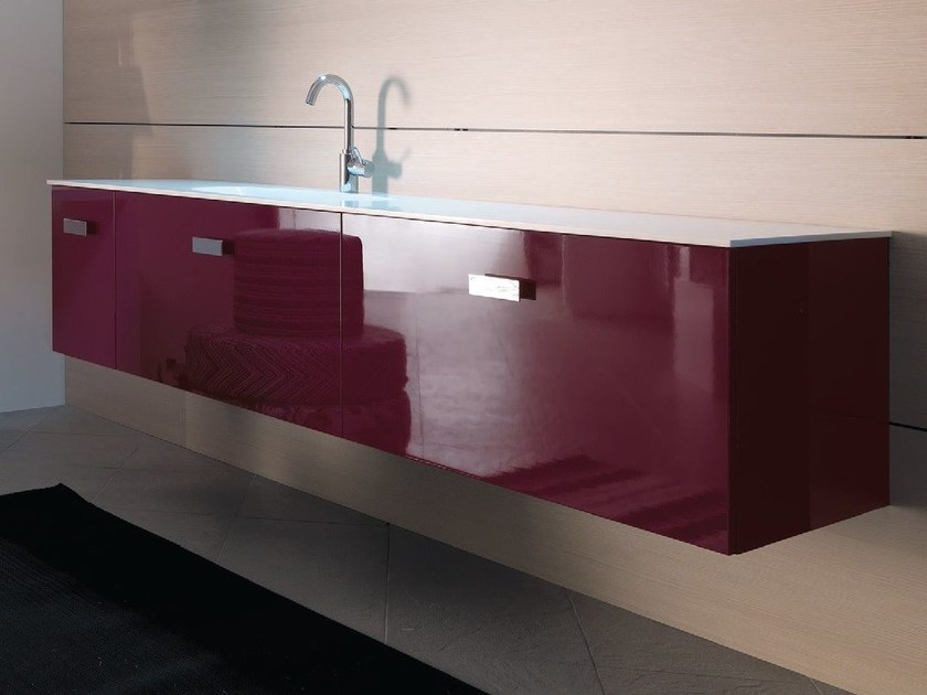 Lacquered wall-mounted vanity unit TWING 025 by LASA IDEA