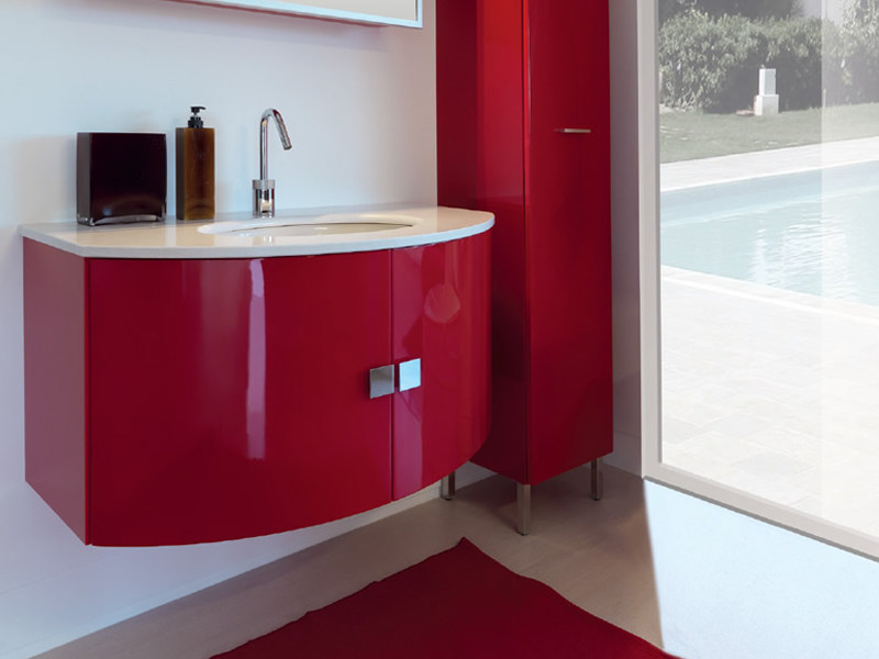 Wall-mounted vanity unit with cabinets TWING 029 by LASA IDEA