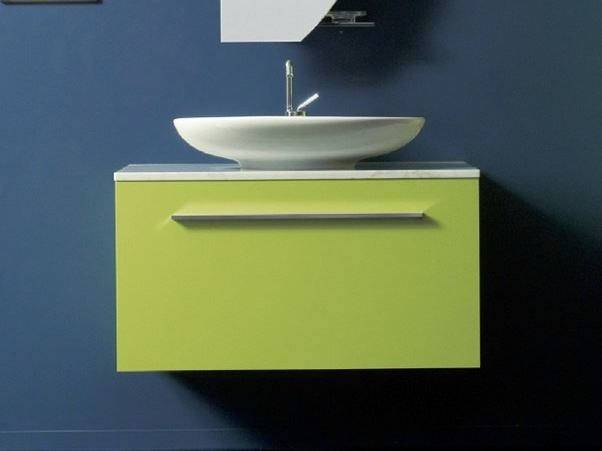 Wall-mounted vanity unit with cabinets TWING 04 by LASA IDEA