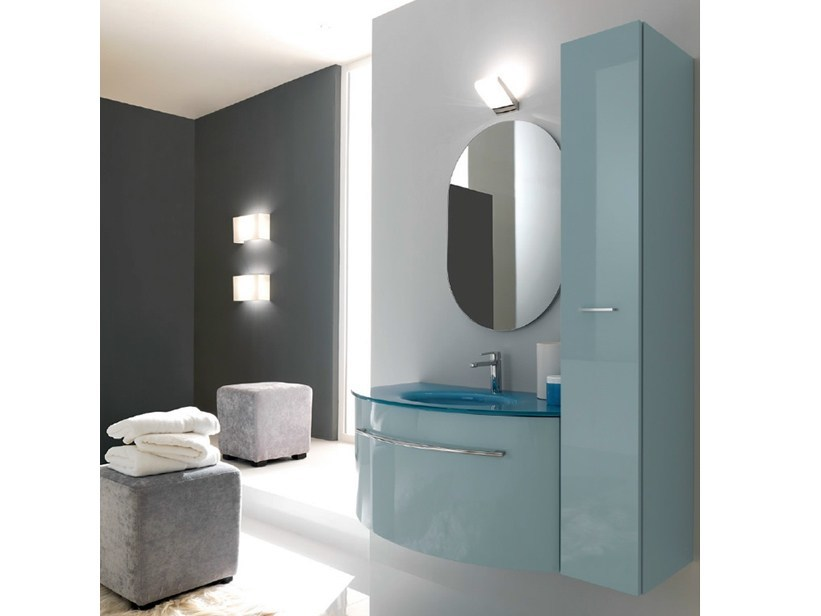Wall-mounted vanity unit with cabinets TWING 30 by LASA IDEA