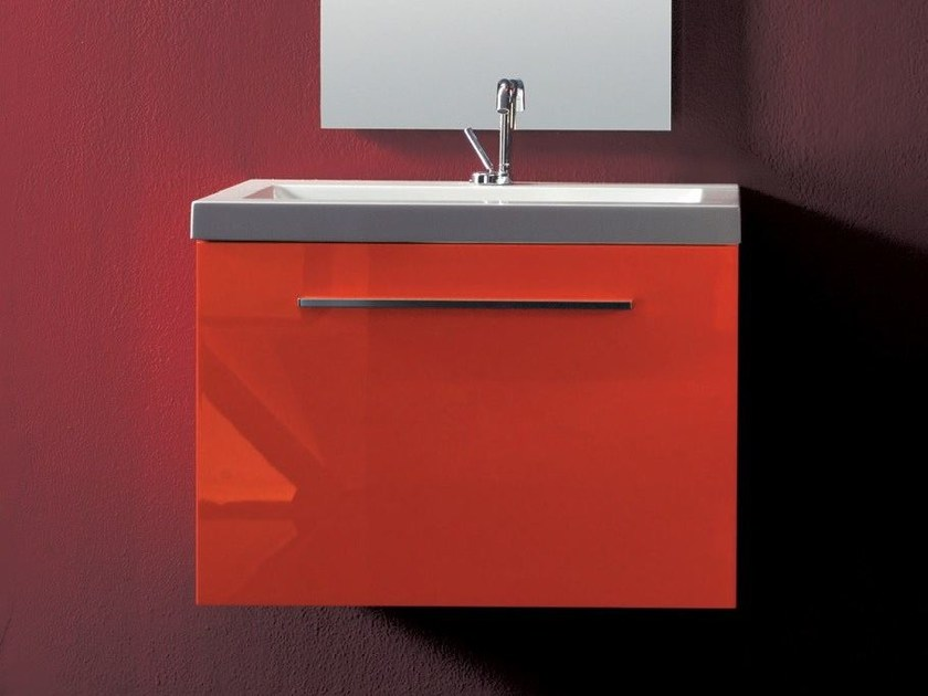 Lacquered wall-mounted vanity unit TWING 01 by LASA IDEA