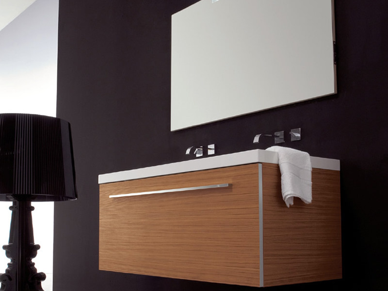 Double wall-mounted wooden vanity unit TWING 5 by LASA IDEA