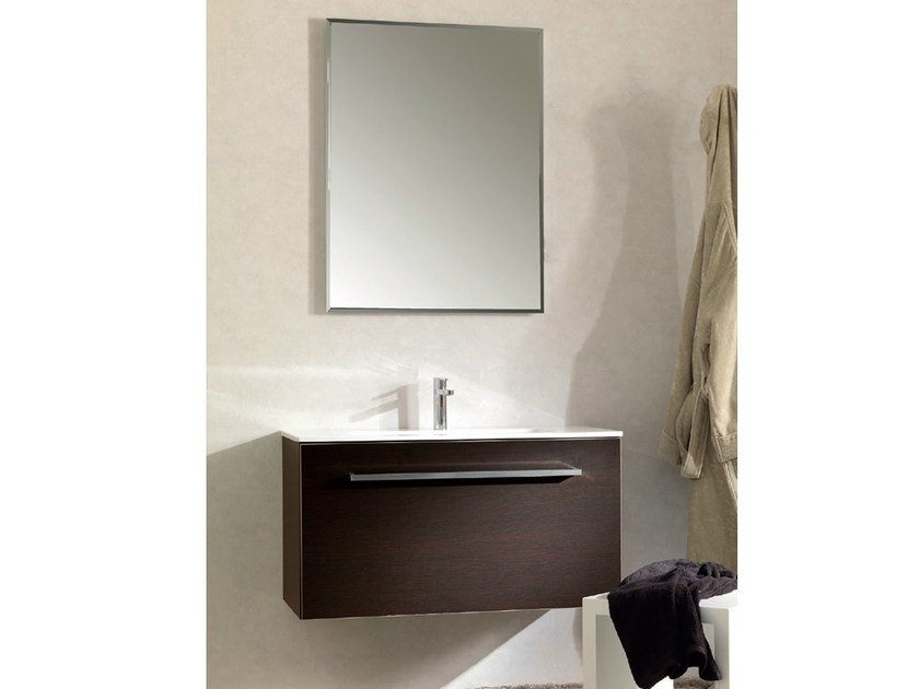 Wall-mounted wooden vanity unit TWING 031 by LASA IDEA