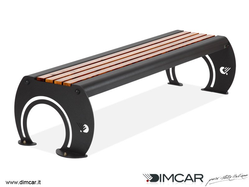 Contemporary style backless metal Bench Panca Osiria con listoni in legno by DIMCAR