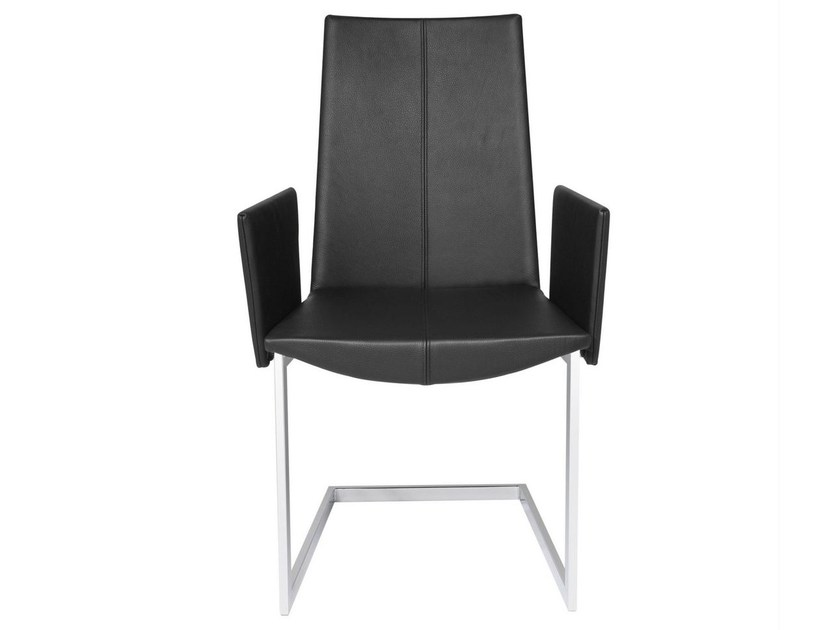 Cantilever leather chair with armrests TIBET | Chair with armrests by KFF