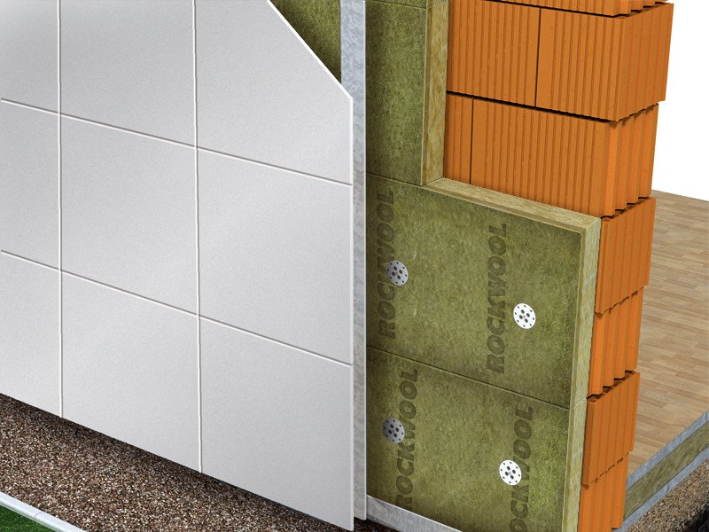 Thermal insulation panel / Sound insulation and sound absorbing panel in mineral fibre Ventirock Duo by Rockwool Italia