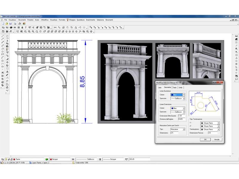 BM CAD BM CAD - Esempio disegno architettonico con immagini e quotature