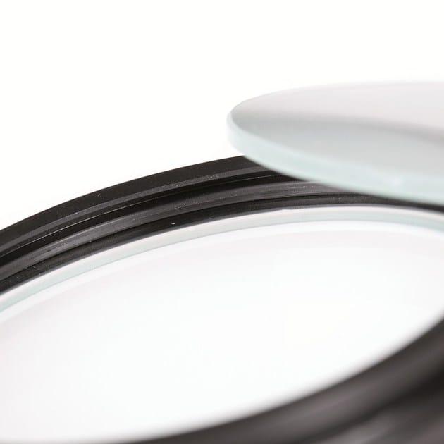 2100 incasso soffitto - particolare della guarnizione del vetro che permette l'inserimento di filtri colorati, ellittici e sabbiati