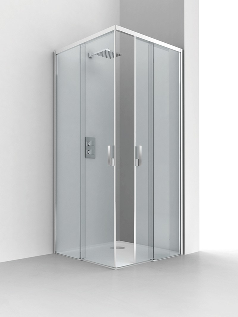 Corner glass and aluminium shower cabin with sliding door EVOLUTION LIGHT by RELAX