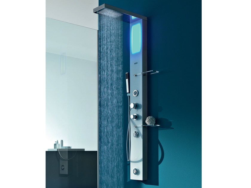 Multifunction thermostatic stainless steel shower panel BRILL PLUS by Gruppo Geromin