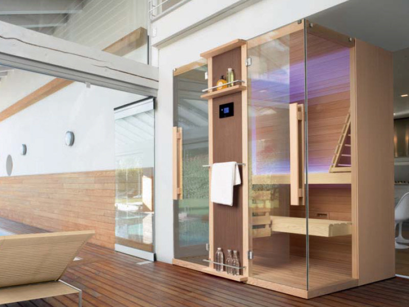 Finnish sauna CUNA 120 curva by Gruppo Geromin