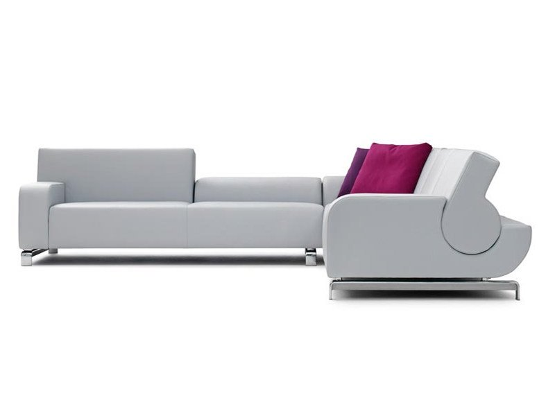 Sectional leather sofa B FLAT | Sofa by LEOLUX