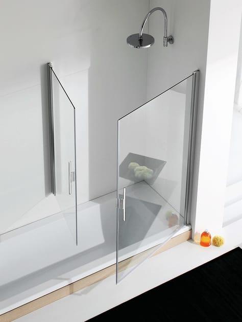 Glass and aluminium bathtub wall panel LIGHT VP1 + VP2 by RELAX