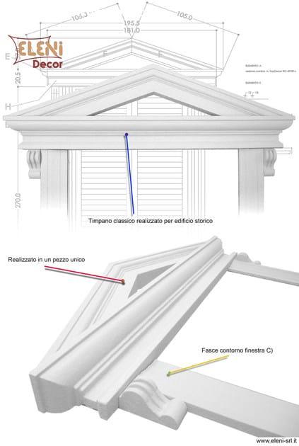 Timpano per Porta finestra in stile Toscano