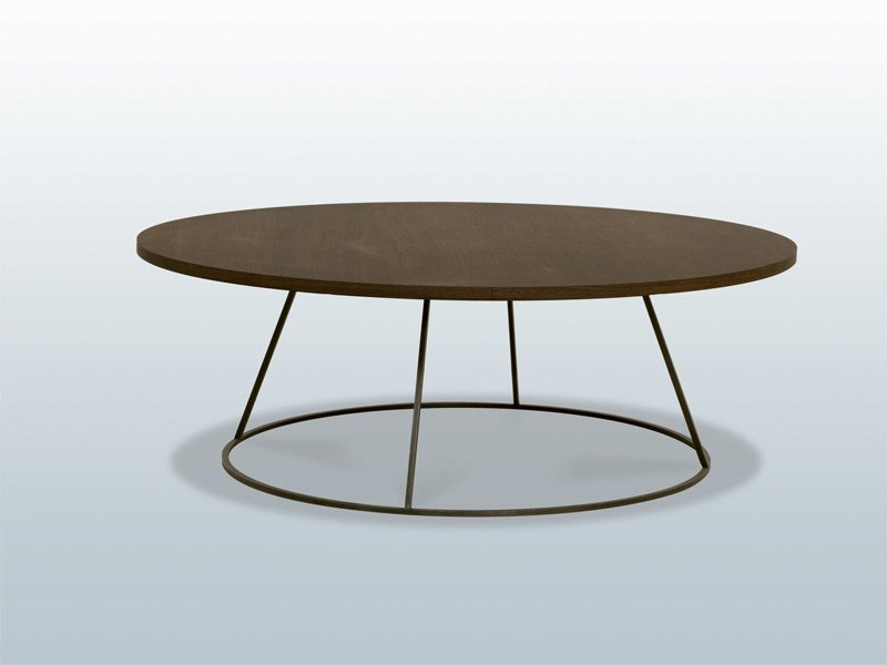 Round wooden coffee table TAMBOUR by INTERNI EDITION