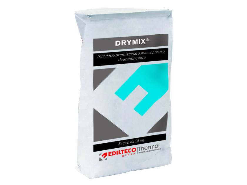 Renovating and de-humidifying additive and plaster DRYMIX by EDILTECO