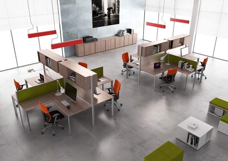 ONLINE SYSTEM ONLINE3 Postazione di lavoro - Scrivania singola - Divisorio frontale per scrivania singola o condivisa - Contenitore bifacciale, 2 ante scorrevoli e vano a giorno