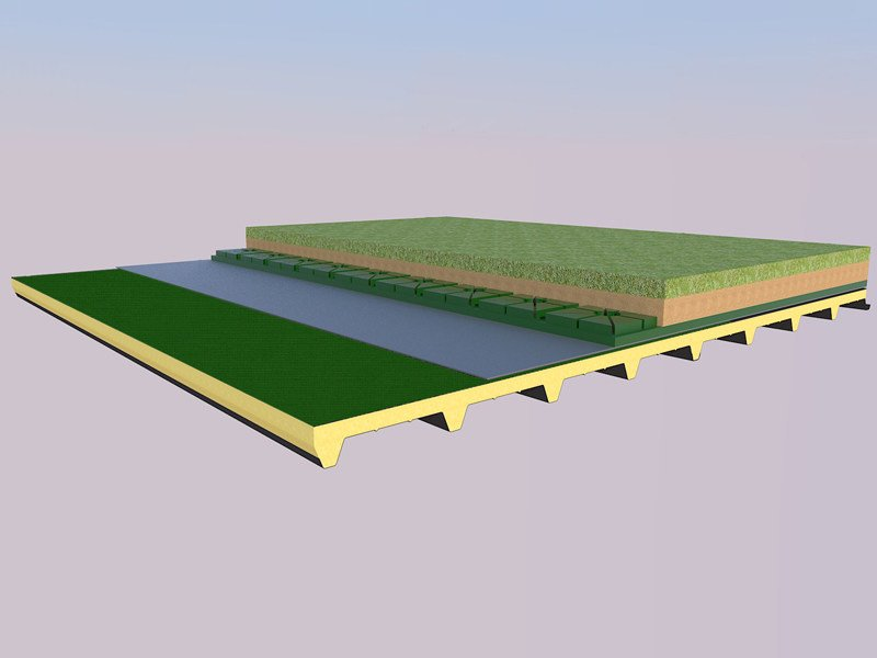 Insulated metal panel for roof ISODECK BIT by ISOPAN