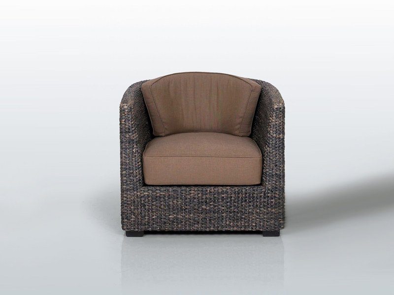 Natural fibre armchair with armrests DEAUVILLE by INTERNI EDITION