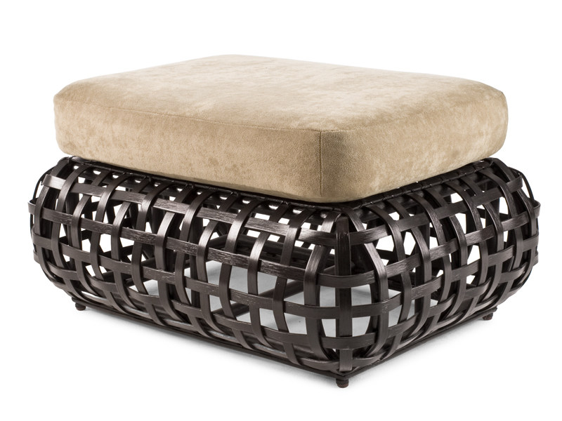 Upholstered rattan pouf MATILDA | Pouf by KENNETH COBONPUE