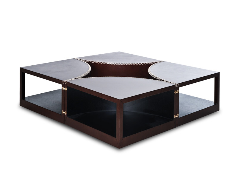 Swivel leather coffee table STITCHES by KENNETH COBONPUE