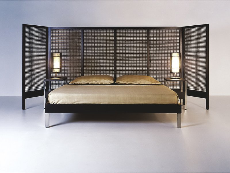 Wooden bed with high headboard SUZY WONG | Double bed by KENNETH COBONPUE